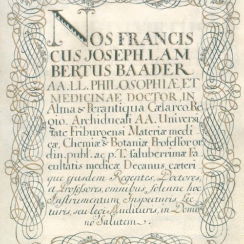 Doktorbrief 弗莱堡大学为来自Waldsee的医生Ignaz Joseph Franz Xaver Braunegger颁发的证书,以医学系教授兼院长…