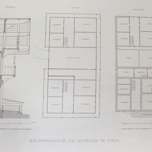 Deininger, Joh. W. 蒂罗尔和福拉尔贝格的农舍。维也纳,Czeiger,约1900.Imp.Fol.有131(而不是149;1 dpblgr.,…