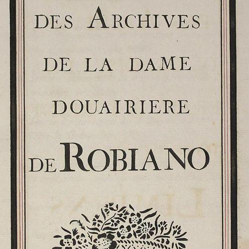 Douairiere de Robiano. 杜艾丽尔 德 罗比亚诺夫人档案馆馆长(二级标题:德 弗朗索瓦兹 雷娜 约瑟芬 德 林彭斯夫人档案馆馆长)。法语。纸…