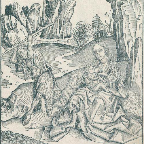 Wolgemut, Michael (1434年纽伦堡1519年)。亚当和夏娃与该隐和亚伯。来自Schedel《世界纪事》(拉丁文版)的木刻,约1493年。25…