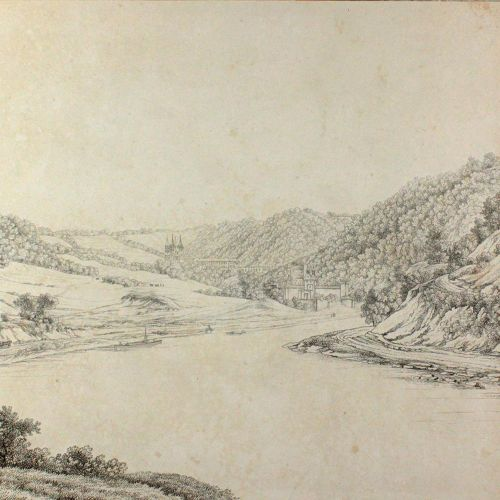 Arnstein. 拉恩河上的阿恩斯坦修道院景观。在Wilmans的Radl之后,由F.A.Schmidt编写的大纲,Ffm。(约1820年)。38 x 52 …