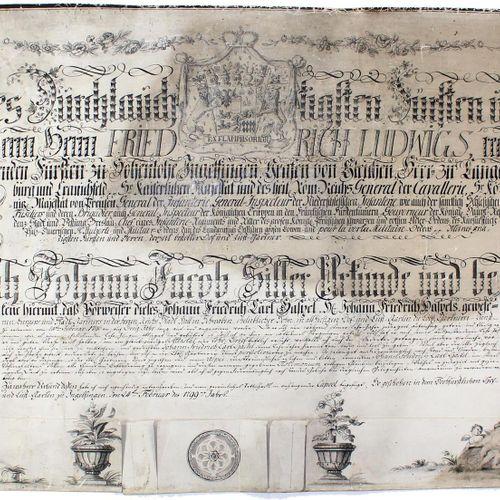 Gärtner. 英格芬根的园丁大师为学徒约翰 卡尔 哈斯佩尔提供的文件,1799年2月。 Qu.Gr.Fol. 羊皮纸文件,采用书法形式,有迷人的笔墨画花边,…