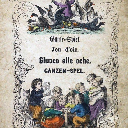 Gänse Spiel. J. Scholz的彩色石版画板,分2部分,美因茨o.J.整体尺寸为33.5 x 40.5厘米(2张折叠纸计划,20.5 x 16.5…