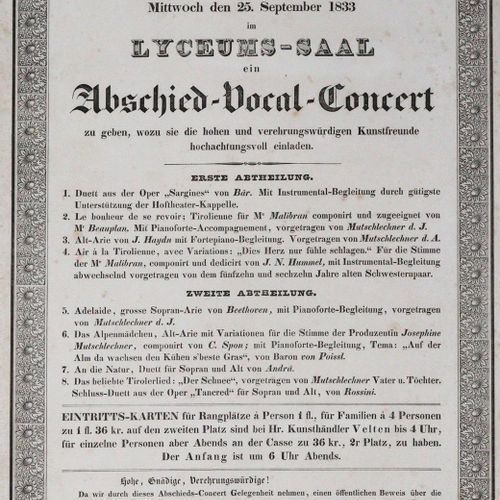Mit hoher Bewilligung 著名的蒂罗尔女孩约瑟芬和安娜 米茨勒赫纳将有幸(......)在离开之前举办一场告别的声乐音乐会。1833. Cl.…