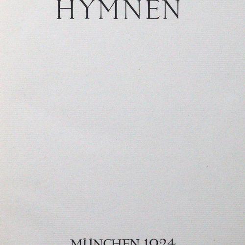 Hölderlin,F. Hymnes. Mchn., Bremer Presse 1924. 4°. 70 p., 1 fol. Toile noire av…