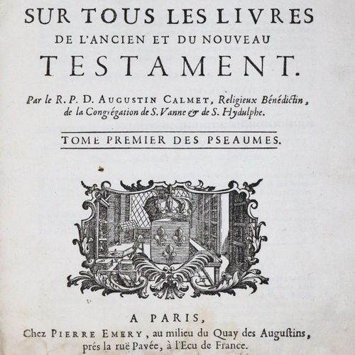 Calmet,A. 古代和新约的所有书籍的文学评论。该系列的9卷。巴黎,埃默里1708 16,4°。附有木刻版画,4种格式。折叠地图,1张折叠平面图,2张(1张…