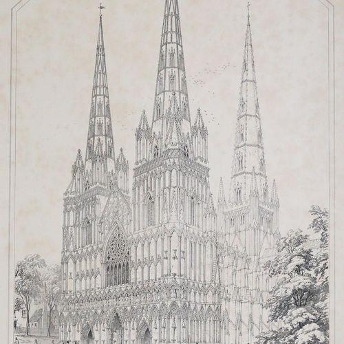 Wickes,C. 英国中世纪教堂的尖顶和塔楼。3合1卷。London, Thompson 1858 59. Imp.Fol. With 72 lithogr.…