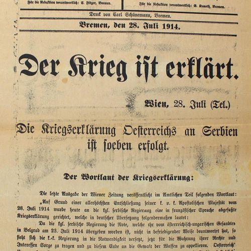 Weser Zeitung Bremen, Göttinger Tageblatt, Göttinger Zeitung. 18 feuilles, 1914 …