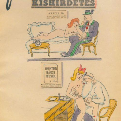 SZEKELY, ALEXANDER. Fidibusz.有10幅(2幅水彩画,3幅粉笔画,5幅水墨画)情色原画。布达佩斯,Junius 1943年。31 x …