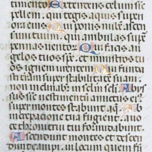 Handschrift (lat.) sur le parchemin. 2 feuilles, 15e siècle. Taille du miroir d'…