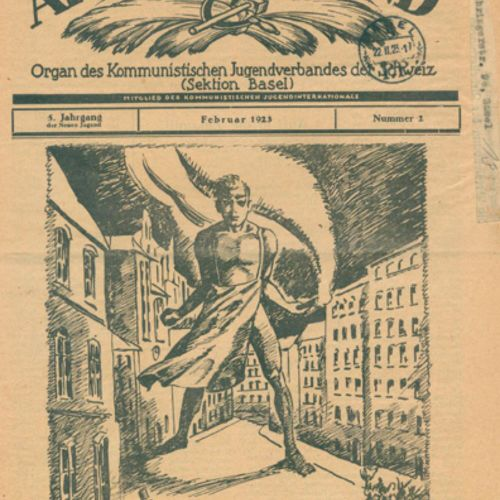 "Neue Jugend. 瑞士共产主义青年团(巴塞尔分部)的机关报。巴塞尔 1919 23. 4°。有一些插图,装订成册。 来自第5期,标题为 ""Arbeite…"