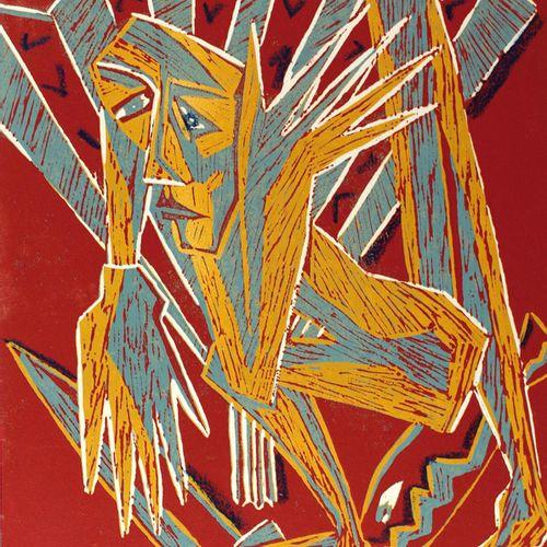 Süß,K. 坎德拉里亚。克劳斯 苏斯的5张彩色油印版画作品集(失落的形式,透支),雷布曼出版社1990年版,四格对开。(有些擦伤和损坏)。 四本中的第三本,作…