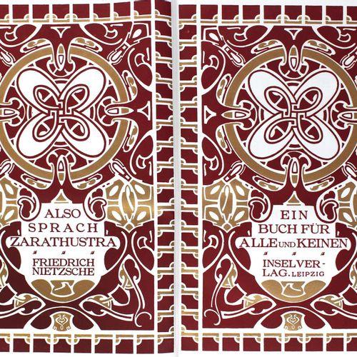 Nietzsche,F. 查拉图斯特拉如是说》。一本适合所有人的书,也不适合任何人。莱比锡,英塞尔,1908年。带有装饰性插图的双标题,标题虚线,四个以紫色和青…
