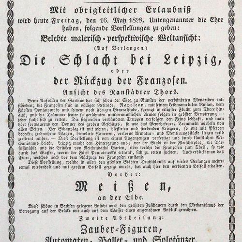 Theatre Pittoresque. 世界观、变形和幻觉。莱比锡之战,易北河畔的迈森,神奇的数字。1828年,对开页 边缘部分有折痕。 R