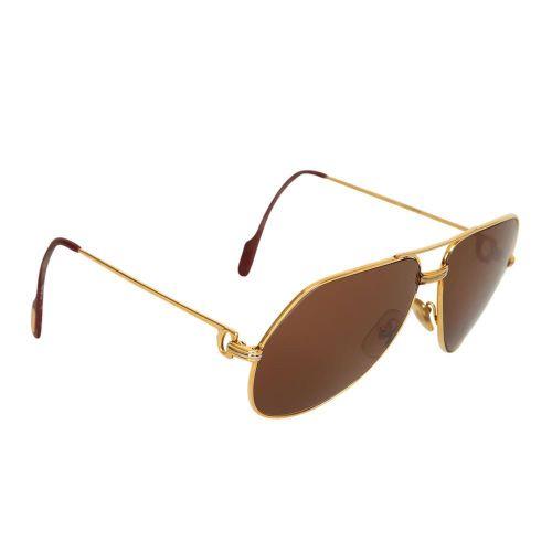 Cartier Aviator Sonnenbrille. 金色镜框,棕色有色镜片,两鬓有标志。在案件中。 裸体。原价:990欧元。 状况良好,边框部分略有污损…