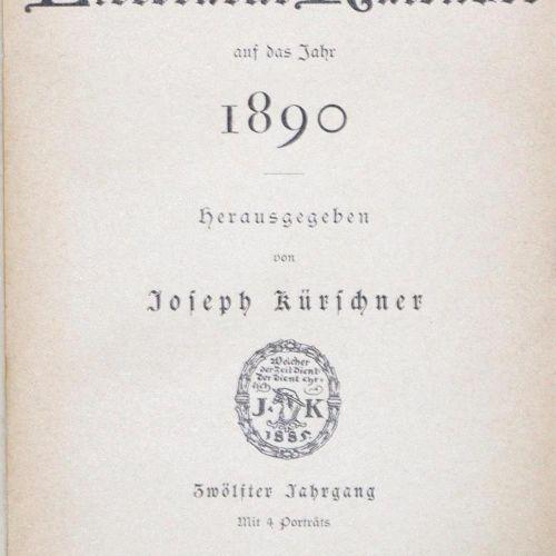 Kürschners Deutscher Literatur Kalender. Jgge.10, 12 45, 47 57 a. 59 in 47 vols.…