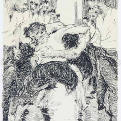 Grützke,J. 妇女的隧道。带17张石版画的磁带。所有作品都有签名、日期和编号。柏林,泰伯出版社,1996年。20,5 x 14 cm。标题和17张图版散…