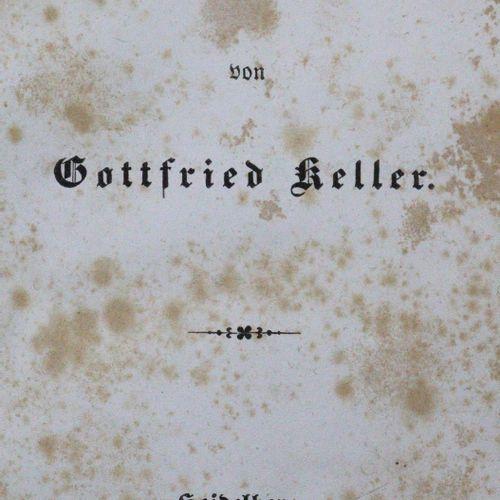 Keller,G. 诗歌。Hdbg., Winter 1846. Cl.8°.2页,346页。深棕色布,书脊和封面有镀金标题,镀金边缘,封面插图(琴声和玫瑰)和…