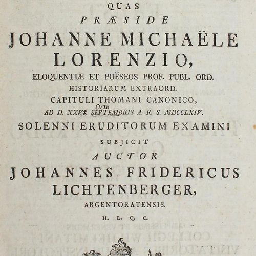 Lichtenberger, Johann Friedrich Tabulae temporum Fatorumque Germaniae.Diss. Acca…