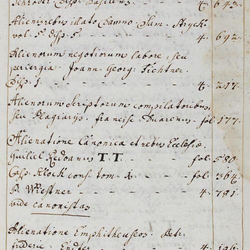 Katalog 属于法律图书馆。拉丁美洲和德国的纸质手稿,约1730年。盲文压印。当时的猪皮板套在木质封面上。(钳子有缺陷,有些虫洞)。) 法律和行政著作索引,…