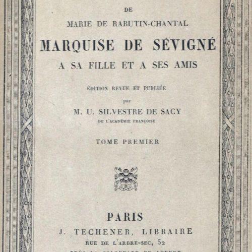 Sevigne,(M.De Rabutin Chantal de). Lettres de ... Marquise de Sévigné a sa Fille…