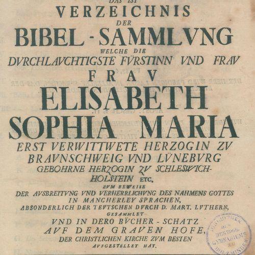 (Knoch,G.R.O.). Bibliotheca Biblica, c'est à dire la liste de la collection bibl…
