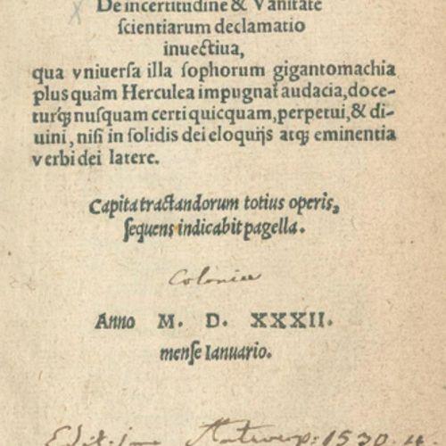 Agrippa von Nettesheim,H.C. De incertitudine & Vanitate scientiarum declamatio i…