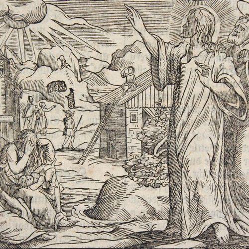 Konvolut d'environ 90 feuilles de gravures bibliques sur bois. XVIIe/début XVIII…