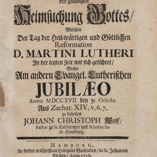 Wolf,J.C. 近代以来,马丁 路德(D. Martin Luther)的神圣和神圣的改革之日所带来的上帝恩典的拜访,是在另一个Evangel寻求的。Lut…