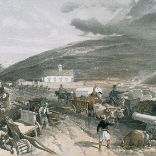 Simpson,W. 东方战争的所在地。第一和第二系列,共1卷。伦敦,Colnaghi 1855 56。对开本,有81张彩色和有色石版画(包括2个带插图的标题页…