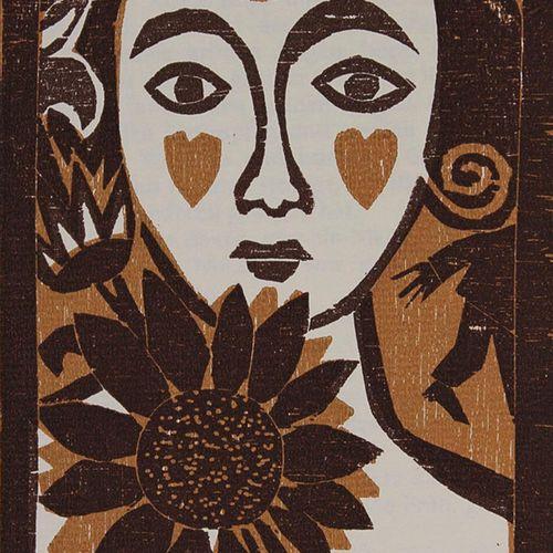 Pohl,A. Paysage avec des arbres. Gravure sur bois en couleur 1994. 18,7 x 11,2 c…