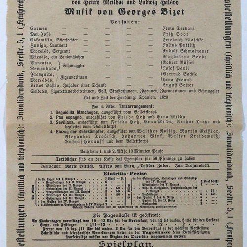 Wagner,R. 收集了9张戏曲节目单。由Meinhold, Drsdn印刷。1911 12.地段。 在德累斯顿皇家歌剧院演出。包含。谭豪瑟》、《好心人》、《…