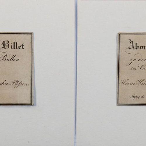 """Abonnement Billets. 2张1829年狂欢节赌场舞会的季票,为 """"Heinrich Baron von Maltzahn先生 """"和 """"Frau …"""