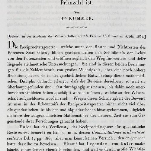 Kummer,(E.E.). Sur les lois générales de réciprocité entre les restes et les non…