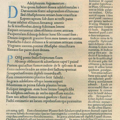 Terentius,A.P. Comoediae. Venise, Jacobus Rubeus 25 août 1476. 4°. Avec de nombr…