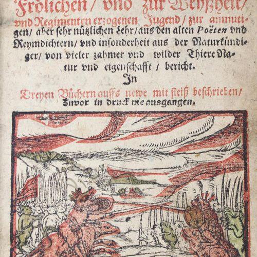 (Rollenhagen,G.). 蛙人的朋友。青蛙和老鼠的美妙希望。在重新描述的三本书中。马格德堡,A.邓克尔,1600年。395(而不是398)页,有黑红色…