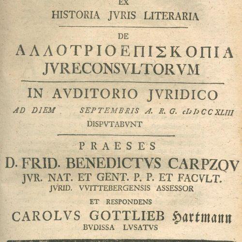 Sammelband 在维滕贝格大学发表了23篇法律论文和2篇历史论文。Ebda. 1740 1744. 4°.共约990页。二十世纪的出版社,有印刷标题。(略…