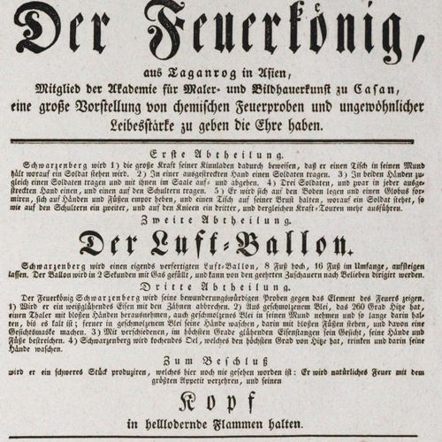 Mit hoher obrigkeitlicher Bewilligung 今天,1832年8月27日星期一,被称为火王的保罗 施瓦辛格(......)将有幸为…