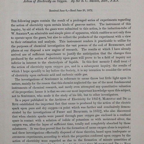 Brodie,B.C. 关于电对气体作用的实验研究。 I. 论电对氧气的作用。1872年6月6日收到 6月20日阅读。4°。附2张石版画。50页。载于:《Phi…