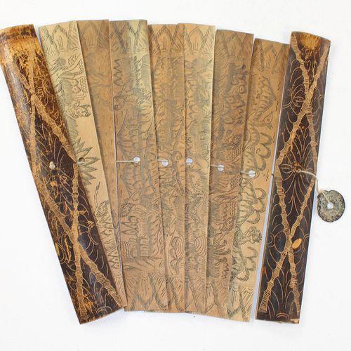 Palmblatthandschrift. 7 fol. Incisés sur les deux côtés. Chacun avec texte et il…
