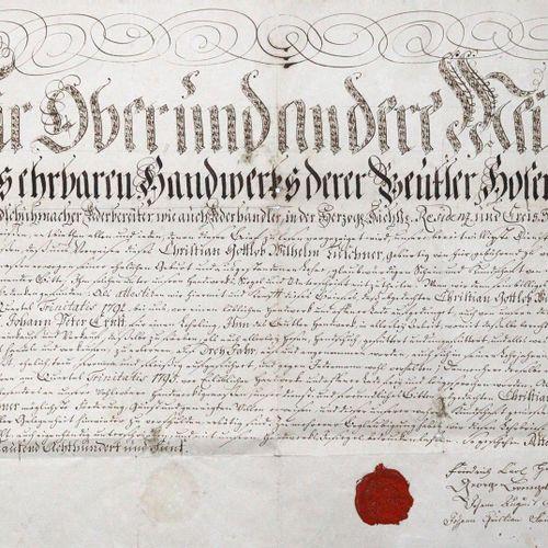 "Lehrbrief 来自阿尔滕堡的 ""靴子制造商、裤子和手套制造商、皮革制造商以及皮革商人 ""克里斯蒂安 戈特洛布 威廉 图施纳。德国纸上手稿,阿尔滕堡1805…"