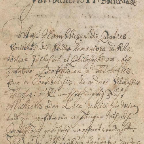 Introductio 在PP。Societatis.德文和拉丁文纸质手稿。纸上手稿,约17/18世纪,77页编号。p., 1 fol.モンクレール。布质,有丝…