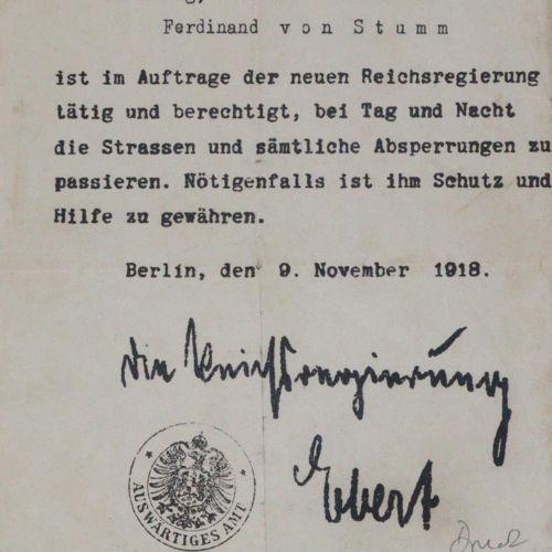 Stumm,F.E.V. 普鲁士外交官费迪南德 爱德华 冯 斯图姆的6页旅行证书集,1872 1909年。 Fol. Gr.Fol. Lots. 包含。梵蒂冈1…