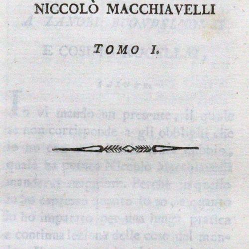 Macchiavelli,N. 政治作品。3卷。(=所有在此标题下发表的文章)。米兰,o.Dr. 1797。有棱角的边缘。(擦伤,有些虫痕)。) 罕见的版本。计…