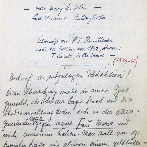Reinthaler,F.J. 论历史的研究和有用的应用,作者是亨利 圣约翰 波林勃洛克子爵。根据1792年的版本翻译,伦敦,T.Cadell在斯特兰德。弗朗茨…