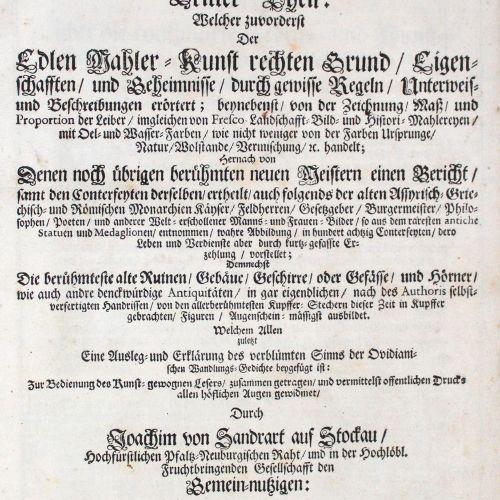 Sandrat,J.V. Der Teutschen Academie 2. Haupt Teils, 3. Teil : welcher der edlen …