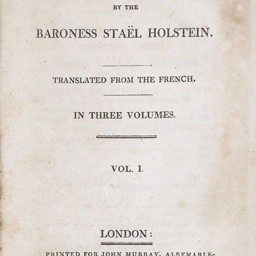 Stael Holstein,(A.L.G.De). Allemagne. Traduit du français. 3 volumes. Londres, M…