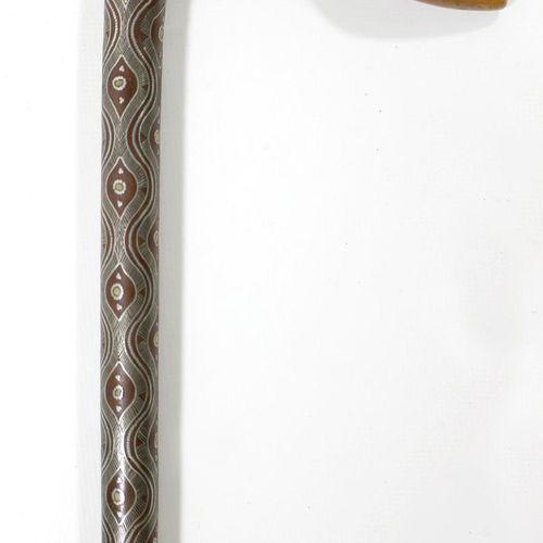 Spazierstock wohl Schlesien um 1860. Spazierstock mit stilisiertem Schwanenhals.…