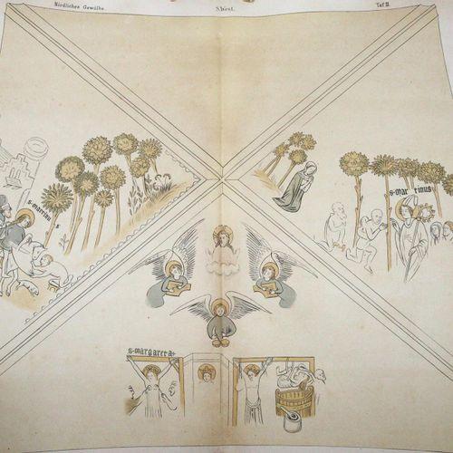 Bernoulli,A. 巴塞尔大教堂地下室的天花板绘画。巴塞尔,Detloff 1878。附有7张彩色石版(其中3张是对开的,)。10页,1页。文本小册子和1…