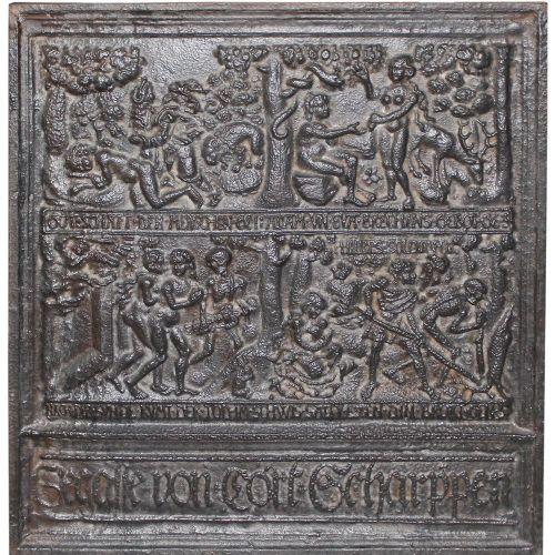 Ofenplatte, Nachguss 20. Jh. 66 x 62,5 cm. Dargestellt sind: Erschaffung Adams, …